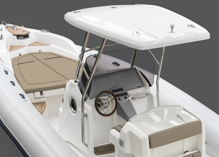 Modello 298 - Stainless steel rollbar with lights and extensible bimini